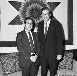 "[""Senator John D. (Jay) Rockefeller stands for a photograph with David Brailer in recognition of him being selected for the Dana Scholars Program at the University of Pennsylvania.""]%"