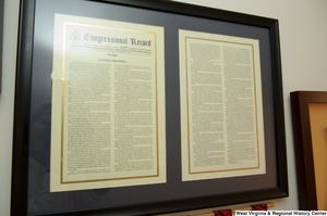 "[""A framed copy of Senator Bob Graham's farewell address hangs in Senator John D. (Jay) Rockefeller's office.""]%"