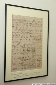 "[""A framed copy of Bach sheet music hangs on a wall in Senator John D. (Jay) Rockefeller's office.""]%"