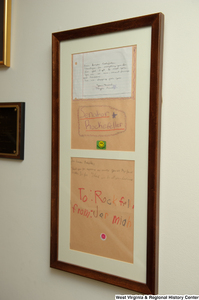 "[""Framed letters from children hang in Senator John D. (Jay) Rockefeller's office.""]%"