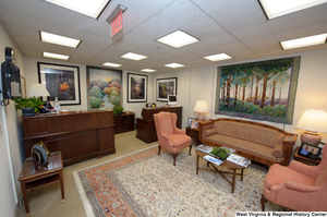 "[""This photo shows the reception area of Senator John D. (Jay) Rockefeller's office.""]%"