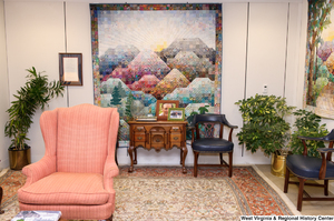 "[""This photo shows part of the reception area in Senator John D. (Jay) Rockefeller's office.""]%"