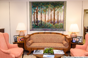 "[""This photo is of a couch and two chairs in Senator John D. (Jay) Rockefeller's office.""]%"