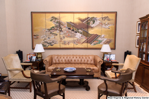 "[""This photo shows chairs and a couch in Senator Rockefeller's personal office.""]%"