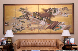 "[""A large Japanese panel painting hangs in the sitting space of Senator Rockefeller's personal office.""]%"