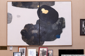 "[""Abstract art hangs on the wall in Senator John D. (Jay) Rockefeller's personal office.""]%"