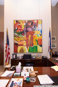 "[""This photograph shows the artwork hanging behind Senator Rockefeller's desk.""]%"