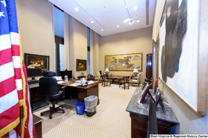 "[""This photograph shows a long view of Senator John D. (Jay) Rockefeller's personal office.""]%"