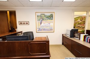 "[""This photograph shows a staff desk area outside the personal office of Senator John D. (Jay) Rockefeller.""]%"