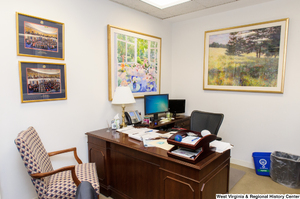 "[""This photo shows a staffer's desk space inside Senator John D. (Jay) Rockefeller's office.""]%"