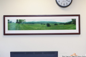 "[""A panoramic photograph of a field hangs in Senator Rockefeller's office.""]%"