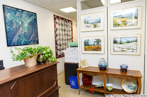 "[""This part of Senator John D. (Jay) Rockefeller's office features some West Virginia landscape photographs.""]%"