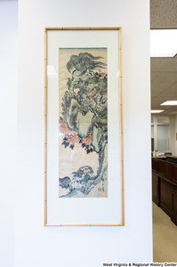 "[""A Japanese painting hangs on a wall in Senator John D. (Jay) Rockefeller's office.""]%"