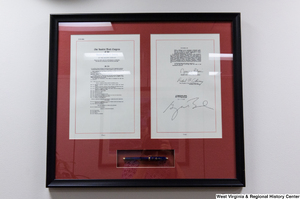 "[""A framed copy of 2008 amendments to the Foreign Intelligence Surveillance Act hangs in Senator Rockefeller's office.""]%"