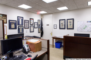 "[""The press office in Senator John D. (Jay) Rockefeller's office is full of newspaper clippings on the walls.""]%"