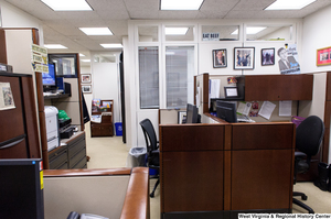 "[""This photo shows part of the press office within Senator John D. (Jay) Rockefeller's office.""]%"