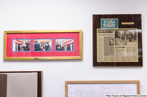 "[""Two sets of news clippings hang in Senator John D. (Jay) Rockefeller's office.""]%"