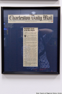 "[""A framed Charleston Daily Mail article titled \""Rockefeller stands up for West Virginia\"" hangs in Senator John D. (Jay) Rockefeller's office.""]%"