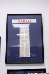 "[""A framed Politico article called \""Invest in Technology To Make Coal Clean\"" hangs in Senator John D. (Jay) Rockefeller's office.""]%"