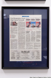 "[""A framed news clipping hangs in Senator John D. (Jay) Rockefeller's office.""]%"
