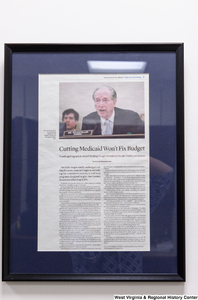 "[""A framed article called \""Cutting Medicaid Won't Fix Budget\"" hangs in Senator John D. (Jay) Rockefeller's office.""]%"