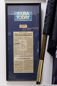 "[""A clipping of a USA Today article hangs in Senator Rockefeller's office.""]%"