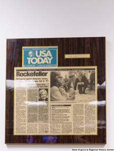 "[""A USA Today article hangs in Senator Rockefeller's office.""]%"