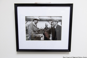 "[""Senator John D. (Jay) Rockefeller shakes hands with a West Virginia coal miner.""]%"