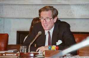 "[""Senator John D. (Jay) Rockefeller speaks during a conference event at the Senate.""]%"