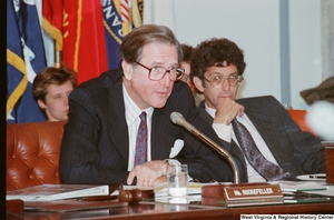 "[""Senator John D. (Jay) Rockefeller speaks at a Veteran's Committee hearing at the Senate.""]%"