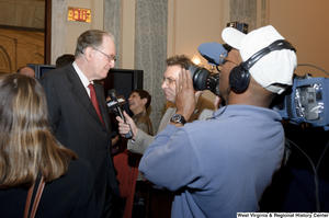 "[""Senator John D. (Jay) Rockefeller speaks with press at an event for Senator Joe Manchin.""]%"