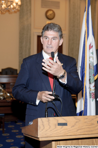"[""Senator Joe Manchin speaks during his swearing-in ceremony.""]%"