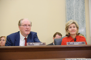 "[""Senators Kay Hutchison and John D. (Jay) Rockefeller sit at a Commerce Committee hearing.""]%"