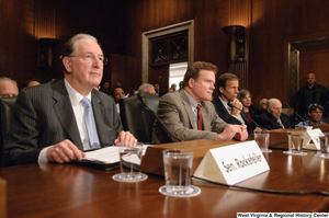 "[""Senator John D. (Jay) Rockefeller listens to testimony at an Energy Committee hearing.""]%"