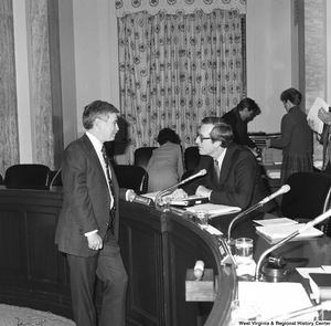 "[""Senator John D. (Jay) Rockefeller speaks with the mayor of Nitro, West Virginia following a Senate Commerce Committee hearing. The mayor came to speak about how liability insurance was hurting towns and counties throughout West Virginia.""]%"