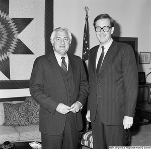 "[""Senator John D. (Jay) Rockefeller poses for a photograph with Orson Swindle, the head of the Economic Development Administration.""]%"