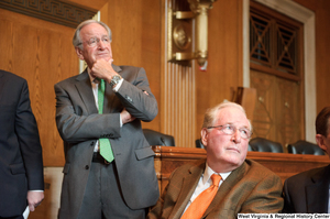 "[""Senators John D. (Jay) Rockefeller and Tom Harkin attend a Stand Up for Medicaid event.""]%"