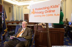 "[""Senator John D. (Jay) Rockefeller sits at an event called Protecting Kids' Privacy Online.""]%"