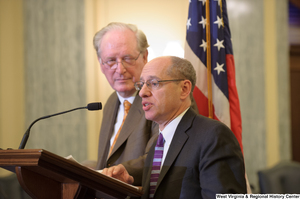 "[""Senator John D. (Jay) Rockefeller stands next to a man at a Commerce Committee event about online privacy.""]%"