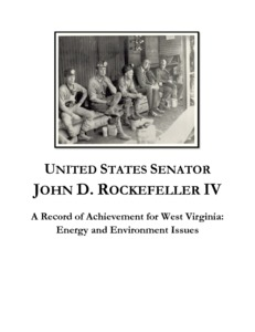 "[""The \""A Record of Achievement for West Virginia: Energy and Environment Issues (Legacy on Energy, Environment and Coal Miners)\"" memorandum details Senator John D. (Jay) Rockefeller's contributions to federal policy related to energy, environment, coal miners, and mine safety. The memo covers the Coal Industry Health Benefit Stabilization Act of 1989, the passage of the Coal Act in 1992, and additional legislation related to mine improvement and safety. It includes a timeline of Rockefeller's years as governor of West Virginia and as a U.S. senator.""]%"