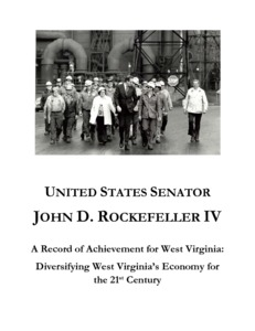 "[""The \""A Record of Achievement for West Virginia: Diversifying West Virginia's Economy for the 21st Century (Your Legacy Memo on Jobs and Economic Growth in West Virginia)\"" memorandum provides an overview of Senator John D. (Jay) Rockefeller's accomplishments in the area of jobs and economic development in West Virginia. It outlines Rockefeller's efforts in diversifying West Virginia's economy; encouraging new high technology industry growth; helping West Virginia's industries and businesses become more competitive; building a strong tourism industry; attracting new federal operations to the state; and advocating for federal resources to aid the state.""]%"