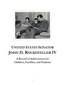 [""\""A Record of Achievement for Children, Families, and Students Memorandum"" details Senator John D. (Jay) Rockefeller's contributions to federal policy related to children, families, and education. It includes information about the National Commission on Children; Earned Income Tax Credit and the Child Tax Credit; child welfare; welfare reform; and education policy.""]%231|300|?|27b819b2b41feabd08c3c54bdd77df13|UNLIKELY|0.3956562876701355
