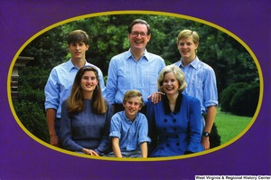 "[""The 1990 Rockefeller family holiday card reads, \""May this holiday season bring you peace and happiness.\"" Pictured are Jay, Sharon, Valerie, John, Justin, and Charles Rockefeller. On the back is an unofficial seal of the United States Senate.""]%"