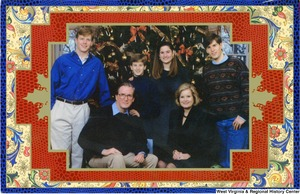 "[""The 1993 Rockefeller family holiday card reads, \""Wishing you a world of peace and happiness.\"" Pictured are Jay, Sharon, Valerie, John, Justin, and Charles Rockefeller. On the back is an unofficial seal of the United States Senate.""]%"