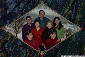 "[""The 1998 Rockefeller family holiday card reads, \""Warmest holiday greetings from our family to yours.\"" Pictured are Jay, Sharon, Valerie, John, Emily, Justin, and Charles Rockefeller. On the back is an unofficial seal of the United States Senate. Photograph by Tracey Attlee LLC.""]%"