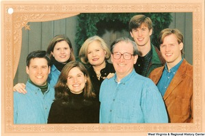 "[""The 2000 Rockefeller family holiday card reads, \""Warmest wishes for a wonderful 1999 holiday season.\"" Pictured are Jay, Sharon, Valerie, John, Emily, Justin, and Charles Rockefeller. On the back is an unofficial seal of the United States Senate.""]%"