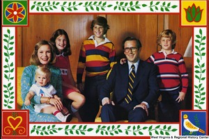 "[""The 1980 Rockefeller family holiday card reads, \""Joy and peace.\"" Pictured are Jay, Sharon, Valerie, Jamie (John), Justin, and Charles Rockefeller.""]%"