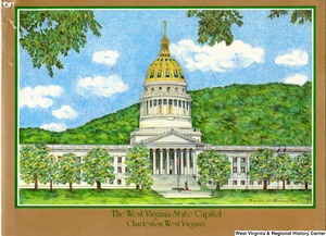 "[""The 1983 Rockefeller family holiday card reads, \""A bright and beautiful Christmas and a new year filled with joy from the Rockefeller's to you!\"" Pictured are Jay, Sharon, Valerie, Jamie (John), Justin, and Charles Rockefeller. The front features a drawing of the West Virginia State Capitol in Charleston, West Virginia, illustrated by Gaynelle W. Sloman.""]%"