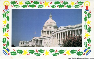 "[""The 1985 Rockefeller family holiday card reads, \""Peace and joy.\"" Pictured are Jay, Sharon, Valerie, Jamie (John), Charles, and Justin Rockefeller. The card, sent during Jay Rockefeller's first year in the U.S. Senate, features a photograph of the U.S. Capitol building.""]%"