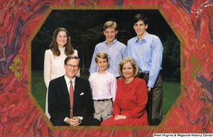 "[""The 1988 Rockefeller family holiday card reads, \""Peace and joy.\"" Pictured are Jay, Sharon, Valerie, John, Charles, and Justin Rockefeller.""]%"